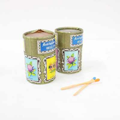 Vintage Cylindrical Safety Match Canisters x2 Australian Wild Flowers #405