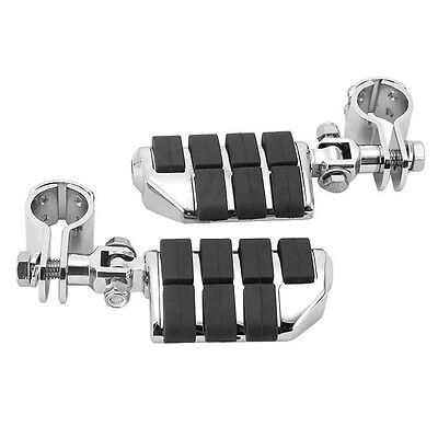 "New 1-1/4""  Billet Motorcycle Foot Pegs + Clamps Fit Harley Engine Guard Highway"