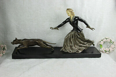 XXL French ART DECO 1930 spelter bronze lady dog on leash marble base