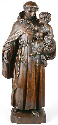 Large Antique French oak wood carved Saint anthony church statue religious