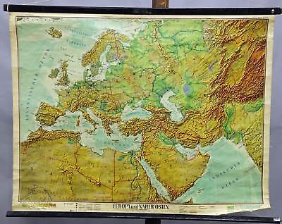 geographical school wall chart Wenschow, map, Europe and Near East, physical