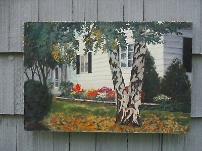 Vintage Signed Mid-Century Oil on Canvas House Landscape