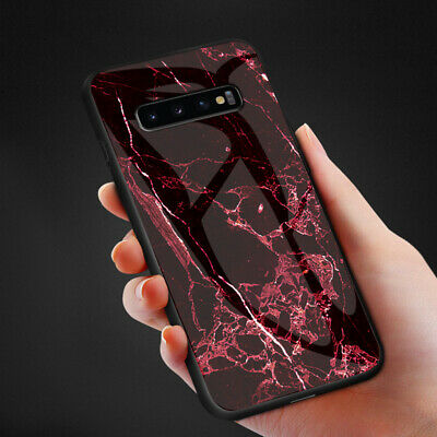 Luxury Marble Tempered Glass Hybrid Case For Samsung Galaxy S10 E Plus M10 M20