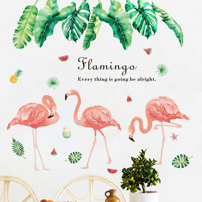 UK STUNNING 3 Flamingo Tropical Leaves Summer Vinyl Decal Sticker DIY Home Decor
