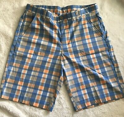 IZOD Golf Mens Plaid Checkered  Flat Front Golf Shorts Size 34