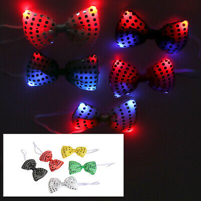 88d1b8050902 Sequin Shiny Bow Tie Sparkly Fancy Dress Magic Mens Boys Accessory Party Fun