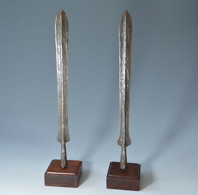 African tribal art  pair of Old Masai spear heads