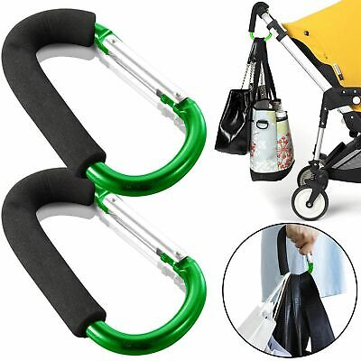 2x Buggy Mummy Clips Pram Pushchair Shopping Bag Hook Carabiner Clip Green