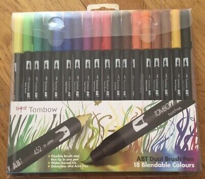 Tombow Brush Pen 18 Colour PRIMARY SET. Double Ended Artist & Craft Marker Pens