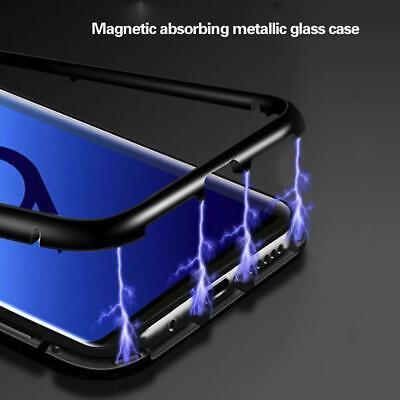 For Samsung Galaxy S10 Plus Magnetic Adsorption Metal Case Glass Tempered Cover