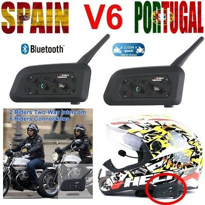 Bluetooth Intercomunicador Casco Moto Auriculares Impermeable V6-1200 interphone