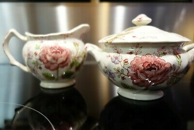 Johnson Brothers Rose Chintz Sugar Bowl with Lid and Creamer Set Made in England