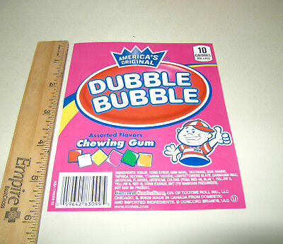 1 Orig Dubble Bubble Assorted Flavor Chiclets Bulk Vending Machine Product Label
