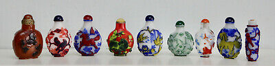 Nine Glass & Hardstone Chinese Snuff Bottles