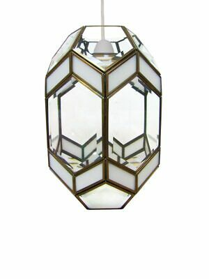 Bevelled Glass Lantern Modern Large White Clear Antique Brass Ceiling Light