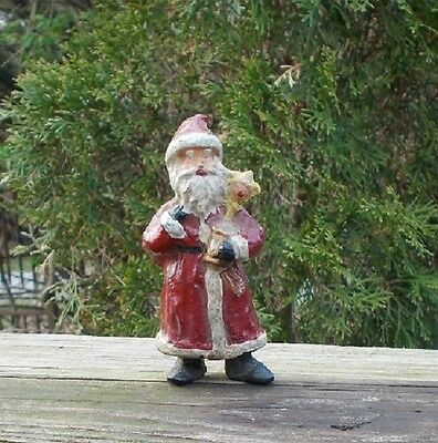 Fine OLD Hand Painted Lead Figure of Standing Santa Claus w Drum n Doll w Gifts