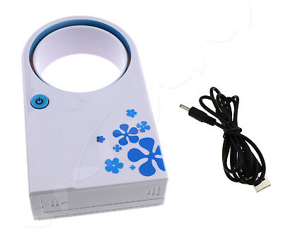 Mini USB Portable Fan Blue Bladeless Air Refrigeration Desktop Conditioner Cool