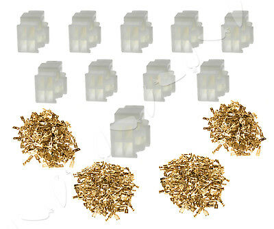 10 Sets 6.3MM BRASS ELECTRICAL MULTI PLUG CONNECTOR TERMINAL BLOCK 4 WAY
