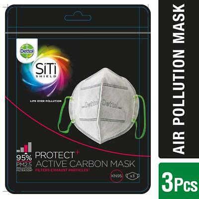 Dettol SiTi Shield Carbon Activated Air Pollution Mask (Pack of 3)