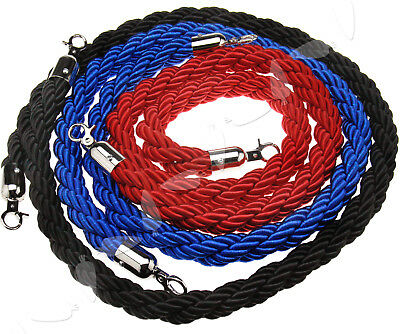Red/Blue/Black Polish Steel Twisted Barrier Rope Queue Divider Crowd Control