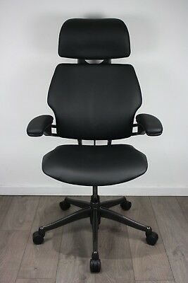 UK DELIVERY   Humanscale Freedom Headrest Chair   Black Leather   Graphite Frame