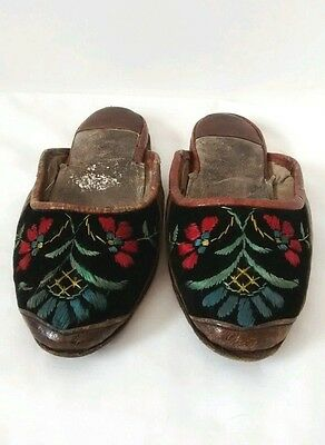 19th Century Turkish Ottoman Empire Childrens Embroidered Slippers Shoes Antique