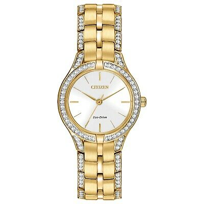 Citizen Eco-Drive Women's Crystal Accents Gold-Tone 28mm Watch FE2062-58A