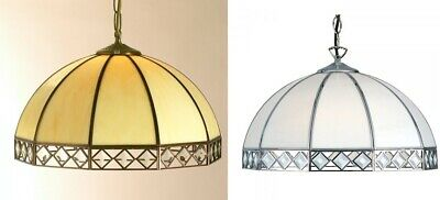 Bevelled Glass Lantern Beige Brass White Chrome Light Pendant Fitting Chandelier