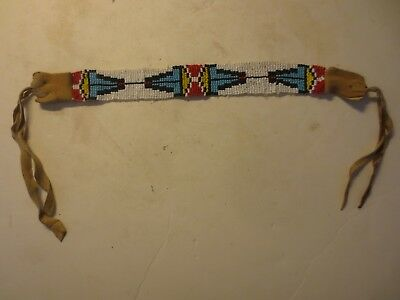 Vintage or Antique Native American Indian Beaded Headband With Tanned Leather