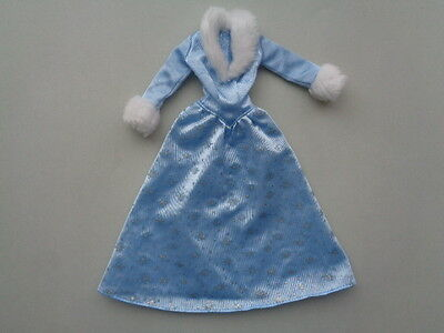 Barbie Doll Fashion Long Blue Gown Fur Collar Sparkly Snowflake Design Clothes