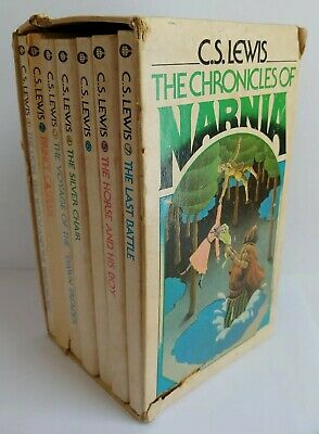 Vintage 1980 THE CHRONICLES OF NARNIA Box Set, CS Lewis - Paperbacks, Complete