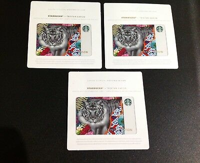 Canada Starbucks Tristan Eaton Tiger Gift Card --- Lot Of 3 Pcs. --- New