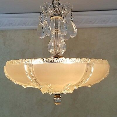 427b Amazing 40's Vintage Ceiling Lamp Fixture Glass Chandelier 3 Lights 1 of 2