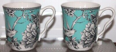 222 Fifth Adelaide Turquoise Set Of 2 Mugs Coffee Tea Porcelain 4 1/8Th New