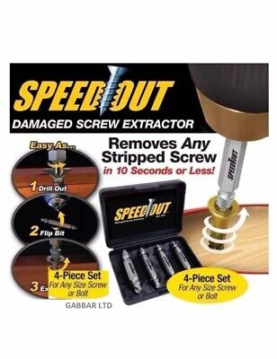 Speed Out Screw Extractor Drill Bits 4 PCS Tool Set Broken Damaged Bolt Remover