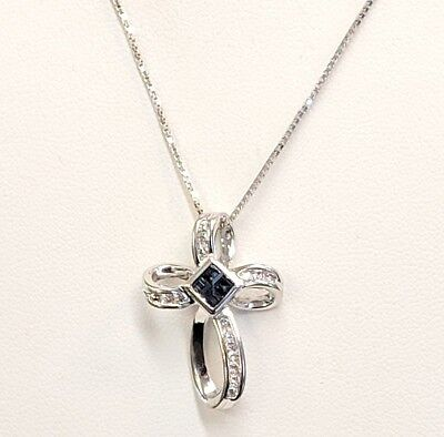 Sapphire & Diamond Cross Pendant and Necklace 14kt White Gold BEAUTIFUL!