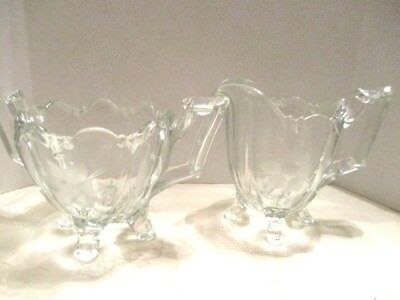 Vintage Clear Glass Flower Etched Footed Scalloped Top Rim Creamer Sugar Bowl