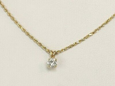 .25CT Round Brilliant VS1/G Solitaire Diamond on 14KT Yellow Gold Necklace 18""