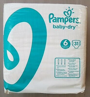 Pampers Baby Dry Diapers Size 6  31 Ct Pack Sealed !   Vintage 2016