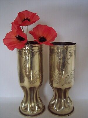 "WW1 Trench Art German shells Fashioned "" French soldier & Sweetheart"" 1915/17."