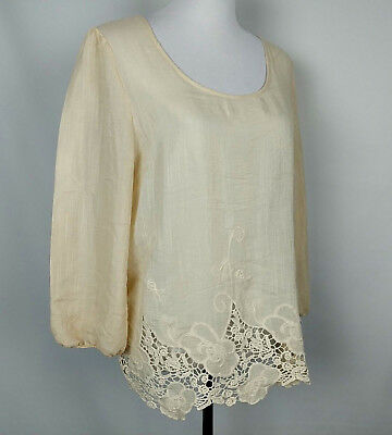 A DIVA Women's Sheer Embroidered Floral Lace Boho Blouse Tunic Top Size L Peach