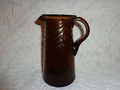 Antique Amber Glass Hand Blown Swirl Form Creamer Pitcher