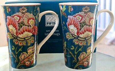 222 Fifth Gabrielle Teal Lattee Mug Coffee Set Of 2 Floral Gold 6 1/4Th New
