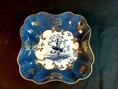 Royal Worcester Hand Painted Shaped Dish Bowl w Bird Artist Signed in Blue Gold