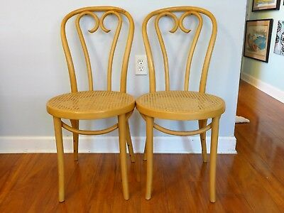Pair of Vintage Thonet Bentwood Cafe Chairs Blonde Wood Cane Seat ZPM Radomsko