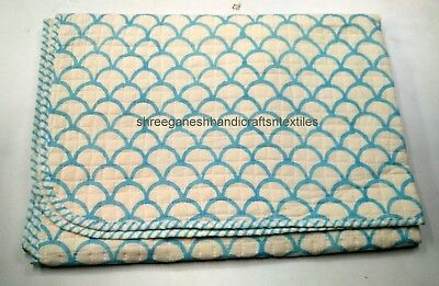 Hand Block Print quilt Kantha baby Quilt Baby Wrap baby Kanth Throw Blanket S912
