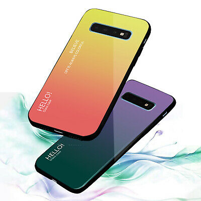 For Samsung Galaxy Note 9 S9 Plus Shockproof Luxury Gradient Glass Case Cover
