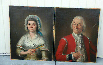 PAIR XL French antique 1800 Oil canvas painting magistrate couple ancestors