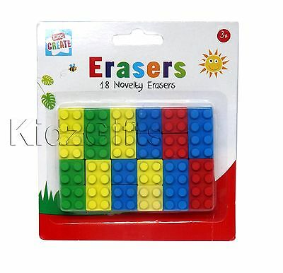 18 Novelty Toy Brick Erasers Rubbers Back to School Kids Brick Style Block