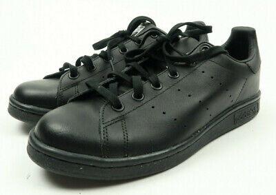 new style 12c30 7caa8 NEW ADIDAS STAN Smith Triple Black Leather Ortholite Shoes Boys Size 6.5